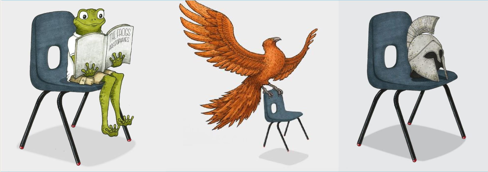 Image of a frog, phoenix and a helmet on classroom chairs